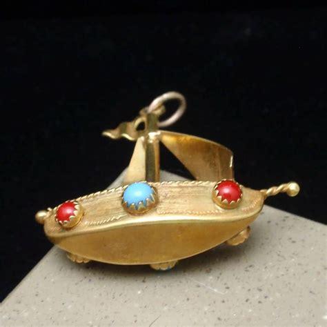 Jeweled Pendant jeweled sailboat pendant or large charm vintage 14k yellow