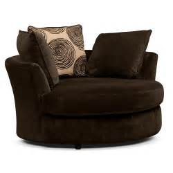 Living Room Swivel Chair Chocolate 2 Pc Living Room W Swivel Chair Furniture