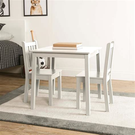 Tot Tutors Daylight 3 Piece White Kids Table And Chair Set Childrens White Desk And Chair Set