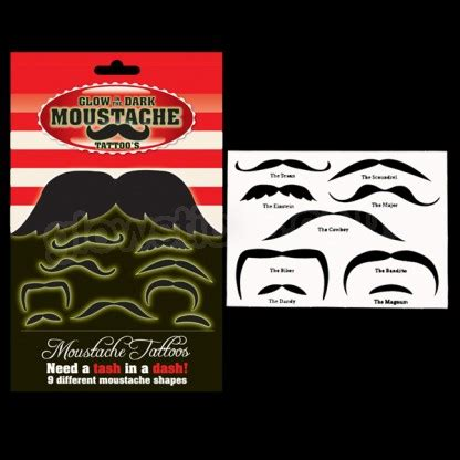 wholesale glow in the dark temporary tattoos glow in the dark moustache tattoos glow wear