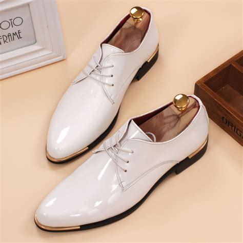 Flat Shoes Nf01 Sintetis Glossy glossy dress shoes white flat wedding shoes patent leather loafers mens shoes luxury brand