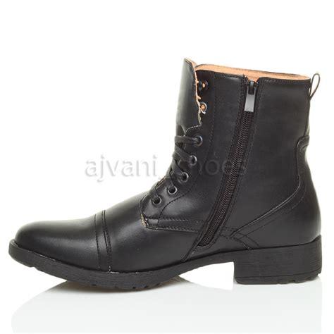 mens dress combat boots mens low heel biker lace up zip army combat ankle