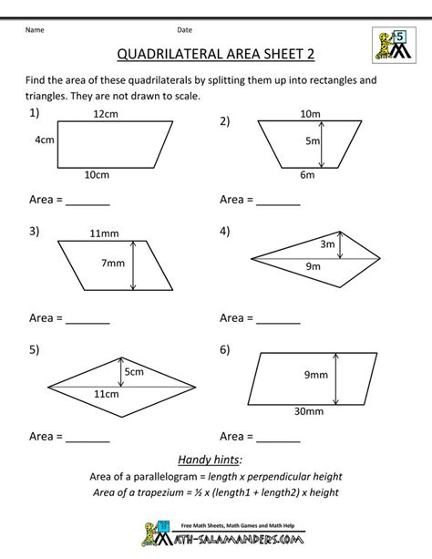 printable area worksheets 5th grade printable geometry worksheets quadrilateral area 2 5th