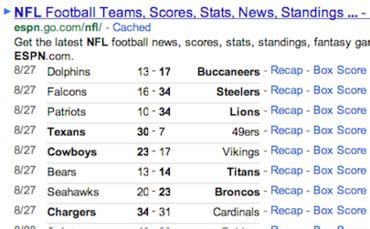 Google Teams with ESPN to Add MLB Baseball, NFL Football ... Nfl Scoreboard Espn