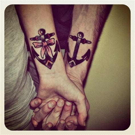his and hers wrist tattoos 20 matching anchor tattoos for couples