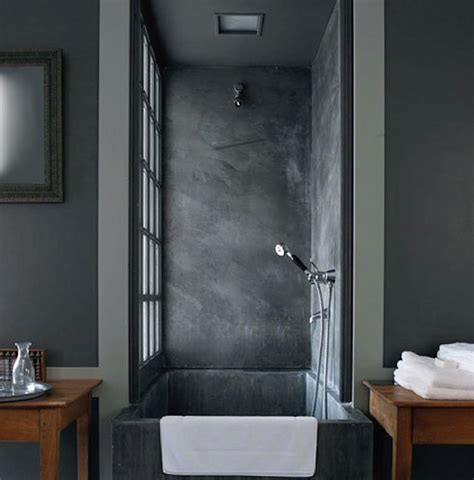 picturesque concrete square tubs with wooden bathroom