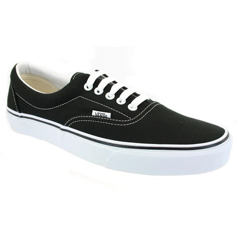 Vans Classic White vans era mens classic lace up trainers canvas black white