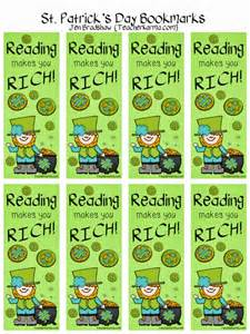 classroom freebies st s day bookmarks reading makes you rich
