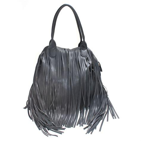 lazenay fringe bag in black