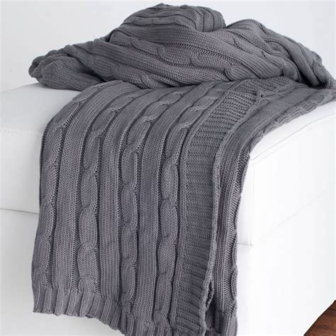 District17 Gray Cable Knit Throw Blanket Throw Blankets