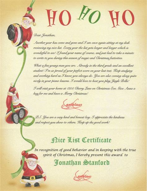 personalised letter from santa charity santa list certificates list santa letter