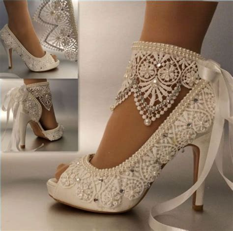 Wedding Shoes With Pearls by Satin Lace And Pearl Bridal Shoes Bridal Stores