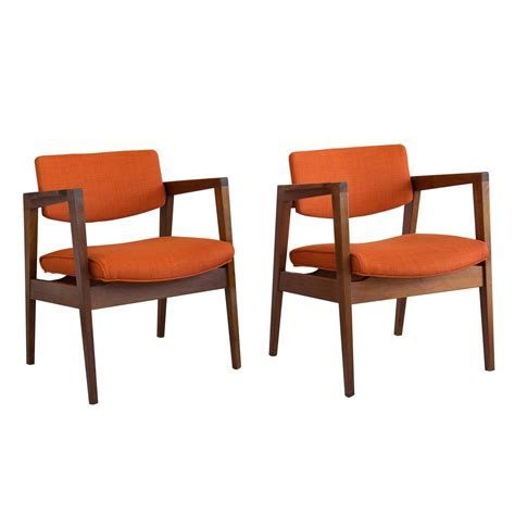 pair walnut gunlocke armchairs for sale at 1stdibs