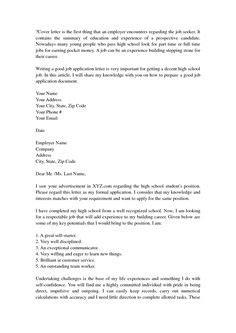 High School Cover Letter No Experience cover letter exles for high school students with no