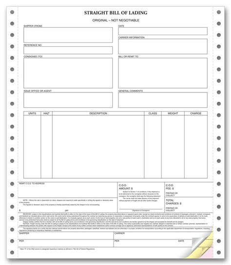 blank bol template blank bill of lading real estate forms