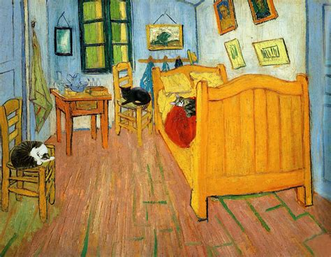 famous bedroom painting vincent van gogh cat art print gifts for friends by