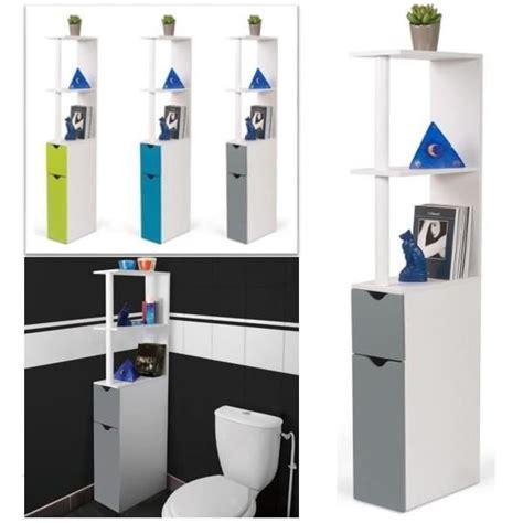 Meuble WC étagère bois gain de place pour toilette porte