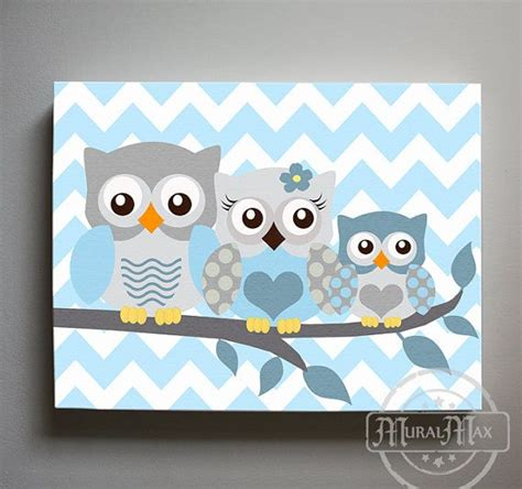owl decor boys wall owl canvas owl nursery by