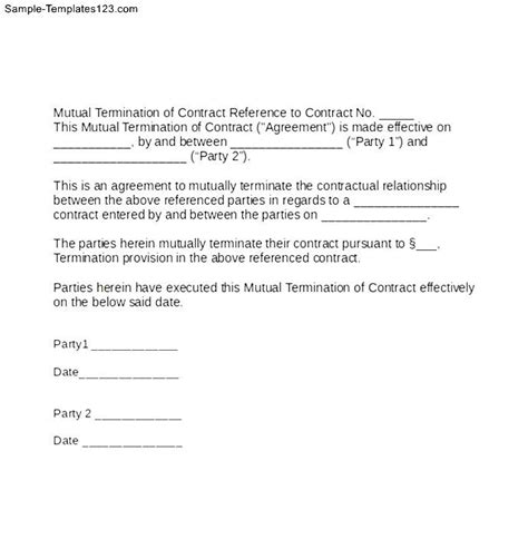 mutual termination of contract letter sle templates