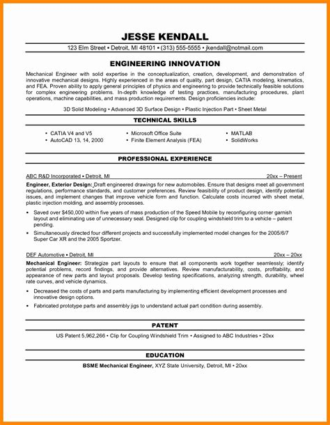 best resume format for experienced engineers sle resume format for experienced engineers best of