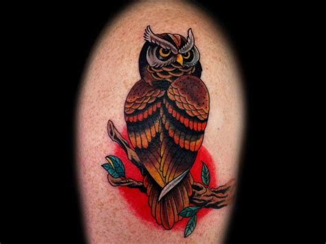 traditional owl tattoo traditional owl arm tattoos www pixshark images