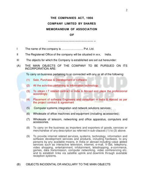 Template Memorandum Of Association Sle Memorandum Of Association It Firm