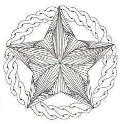 doodle pentagram zentangle in a circle tangling and line drawing