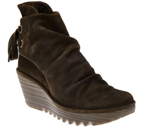 fly suede wedge boots yama page 1 qvc