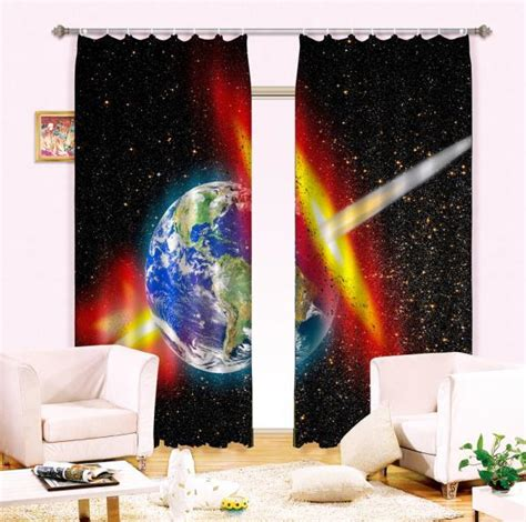 curtains for little boy room fantasy universe galaxy 3d photo printing blackout