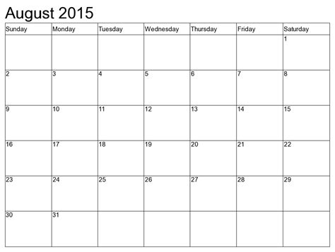 August Printable Calendar 2015 August 2015 Calendar With Us Holidays Events Calendar