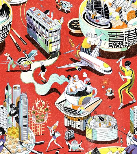 ai pattern mags hong kong airline pattern by illustrator victo ngai