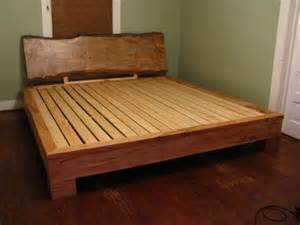 Platform bed featuring live edge headboard southern maple platform bed