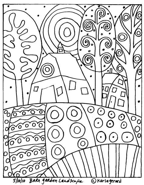 house pattern coloring page barn garden landscape rug hook paper pattern moose river