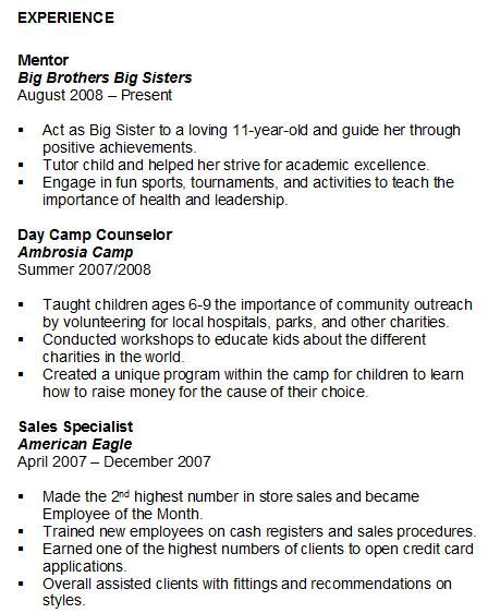 Resume Format Volunteer Experience Student Experience Sle On Resume