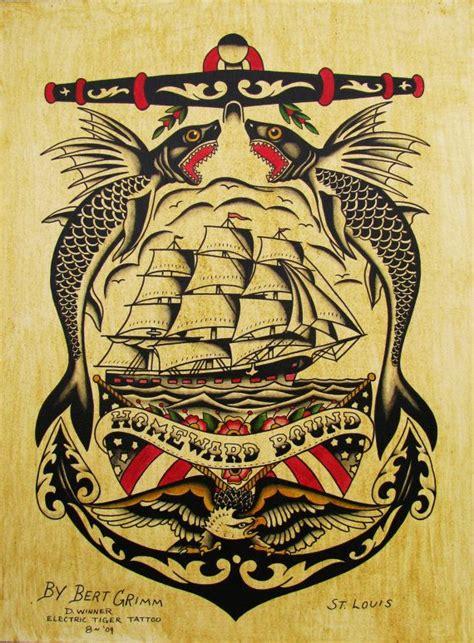 tattoo flash vintage hand painted original tattoo flash vintage bert grimm