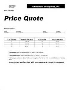 cover letter quotation prices