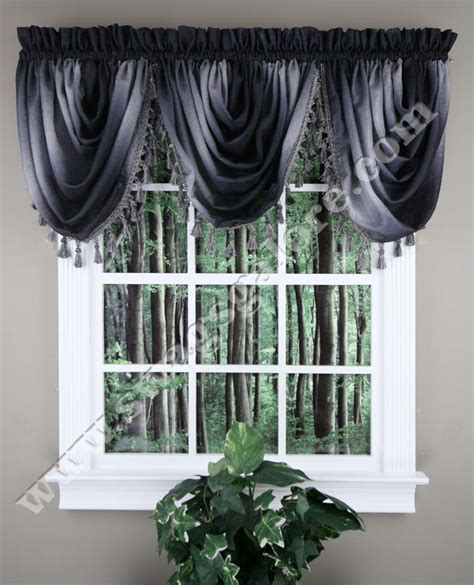 ombre tasseled waterfall valance black achim kitchen
