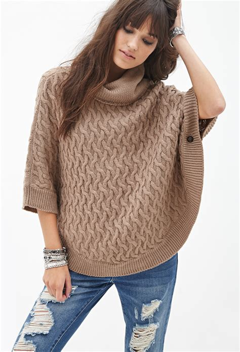 how to knit a poncho forever 21 cable knit poncho in brown lyst