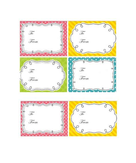 44 Free Printable Gift Tag Templates Template Lab Present Labels Templates