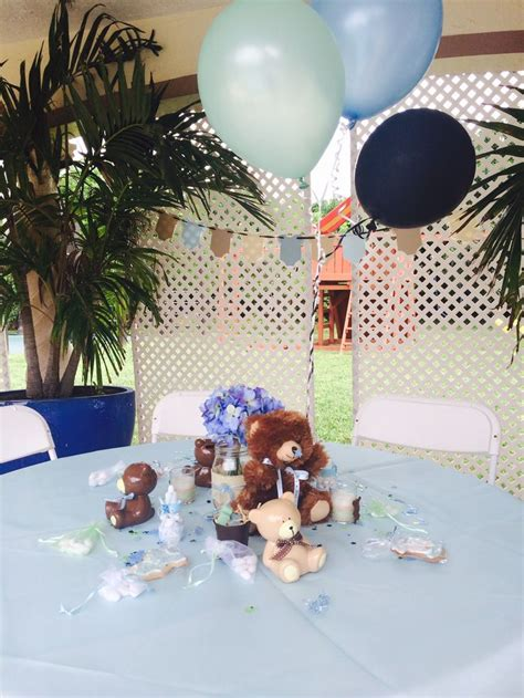 teddy baby shower centerpieces teddy center pieces teddy biy green blue