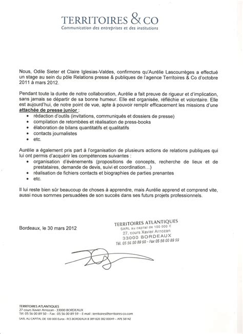 Lettre De Recommandation Dauphine Aurelie Lascourreges Cv Charg 233 E De Communication