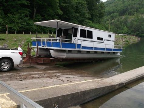 used house boat for sale 1974 35 foot crest line pontoon houseboat houseboat for sale in broad bottom ky