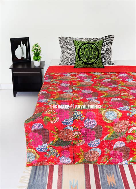 red coverlet twin red twin size floral cotton kantha quilt throw bedding