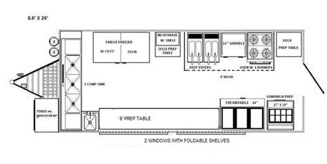 interior design layout sle blueprints of a food truck floorplans 8x20 food truck