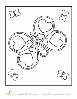 butterfly coloring page education com valentine s day butterfly worksheet education com