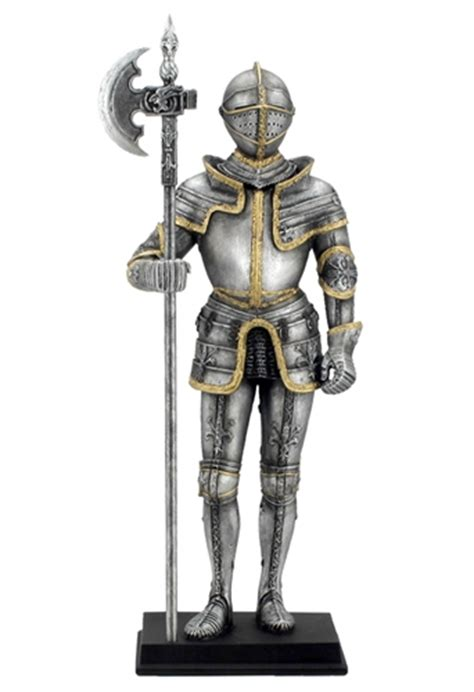 Egyptian Home Decor by Medieval Knight Holding Pollaxe Weapon Statue Suit Of