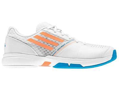 Adidas Sepatu Tennis Badminton Barricade Court White Orange Shoes Ori adidas womens galaxy allegra iii tennis shoes white