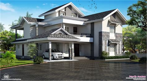 house roof designs modern sloping roof house villa design kerala home design and floor plans