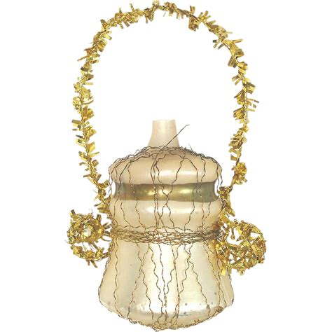 wire wrapped glass urn or vase christmas ornament from