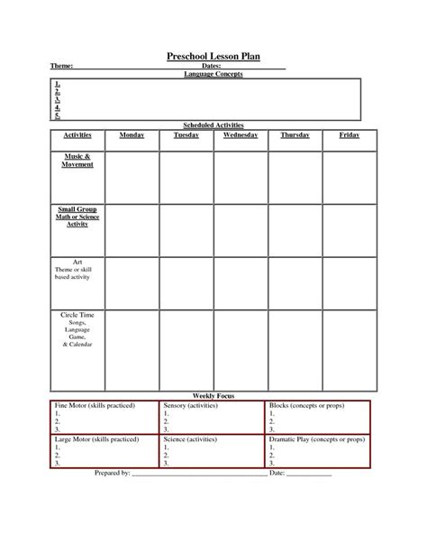 nursery daily diary template best photos of preschool daily lesson plan template